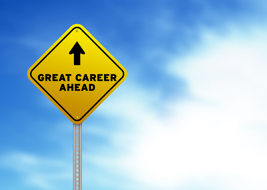 Sign showing great career ahead - IT support and computer networking career opportunities