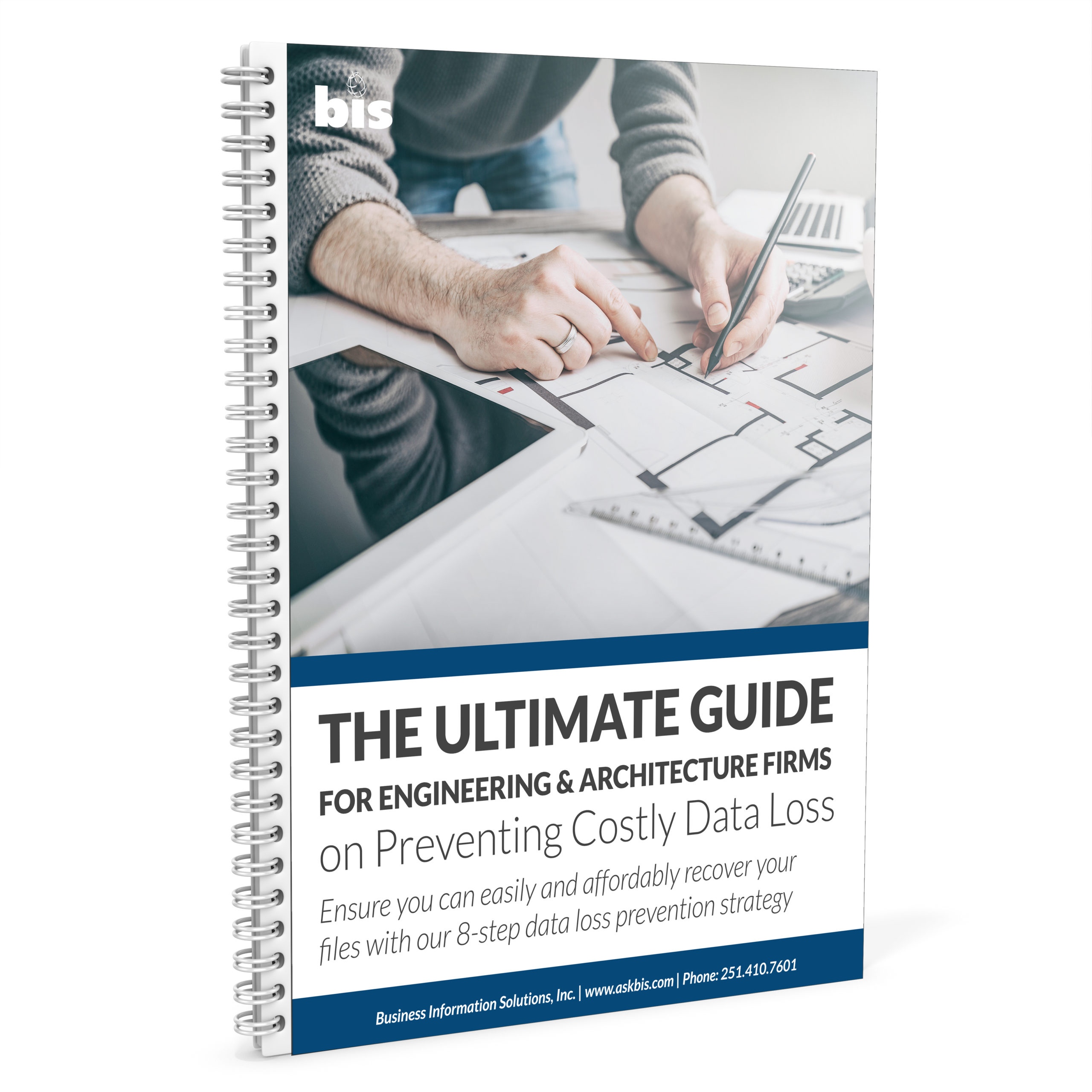 spiral bound notebook with a cover that says The Ultimate Guide for Engineering and Architecture Firms on Preventing Costly Data Loss